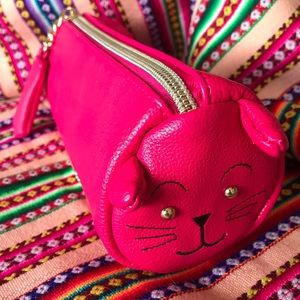 Betsey Johnson Hot Pink Kitty Pencil/Cosmetic Case